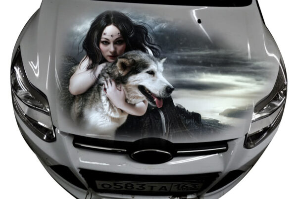 car decal wolf girl