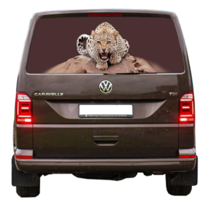 3д наклейка на заднее стекло Grandmaster3d Leopard-kamen 1498х800х0.18мм