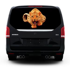 3д наклейка на заднее стекло Grandmaster3d Leopard-Gold 1480х700х0.18мм