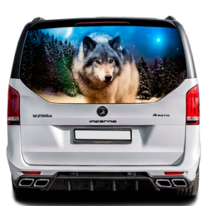 3д наклейка на заднее стекло Grandmaster3d Wolf-7 1498х800х0.18мм