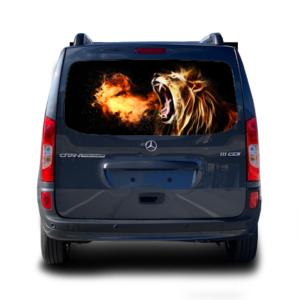 3д наклейка на заднее стекло Grandmaster3d Lion fire 1498х800х0.18мм