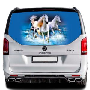3д наклейка на заднее стекло Grandmaster3d Horses 1498х800х0.18мм