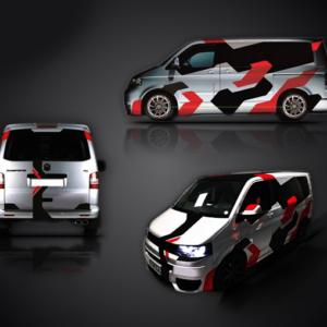 Геометрический камуфляж на микроавтобус Grandmaster3d Red 4660х980х0.060мм