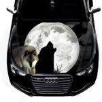 наклейка волк луна
