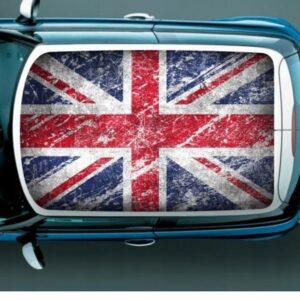 Наклейка на крышу мини купер Grandmaster3d Флаг Великобритании потертый 1300х850х0.14мм