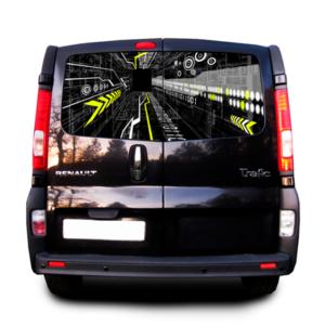 Наклейка на заднее стекло Рено трафик  3D TUNING STUDIO Интернет 1480х700х0.18мм