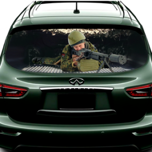 3д наклейка на заднее стекло авто Grandmaster3d Пулемёт 1480х700х0.18мм