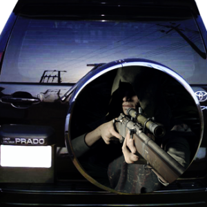 Наклейка на запаску  3D TUNING STUDIO Охотник Снайпер 750х750х0.15мм