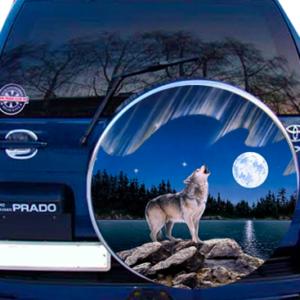 Наклейка на запаску  3D TUNING STUDIO Волк Ночь Река 750х750х0.15мм