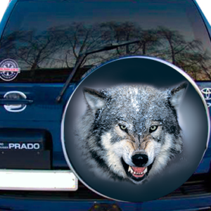 Наклейка на колпак запасного колеса  3D TUNING STUDIO Волк Снег 750х750х0.15мм