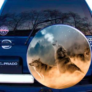 Наклейка на запасное колесо  3D TUNING STUDIO Волки Луна С 750х750х0.15мм