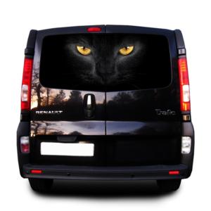 Наклейка на заднее стекло авто Grandmaster3d Черная кошка 1480х700мм