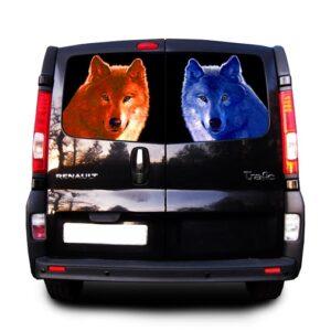 Наклейка на заднее стекло Grandmaster3d Синий волк 1480х800х0.18мм