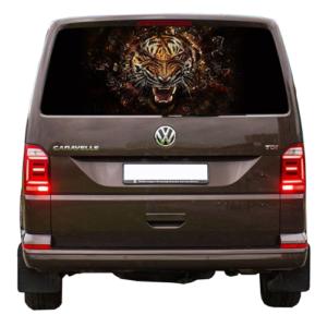 Наклейка на заднее стекло авто Grandmaster3d Тигр огненный 1480х700х0.15мм