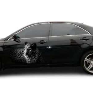 Наклейка на двери авто Grandmaster3d Леопард 3д 1200х750х0.14мм