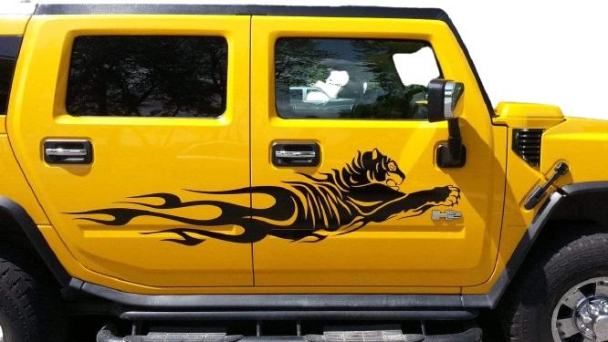 Наклейки полосы на авто 3D TUNING STUDIO Тигр 1500х490х0.060мм=2штуки