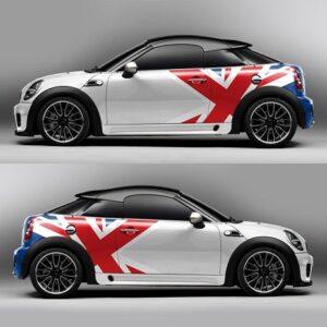 Наклейки на бок мини купер 3D TUNING STUDIO British flag 1550х580х0.14мм = 2 штуки